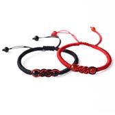 天然瑪瑙情侶手錬一對紅繩手錬男女手工編織手繩