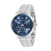 【Maserati 瑪莎拉蒂】GT藍面三眼日期潮流腕錶-質感銀/R8873134002/台灣總代理公司貨享兩年保固