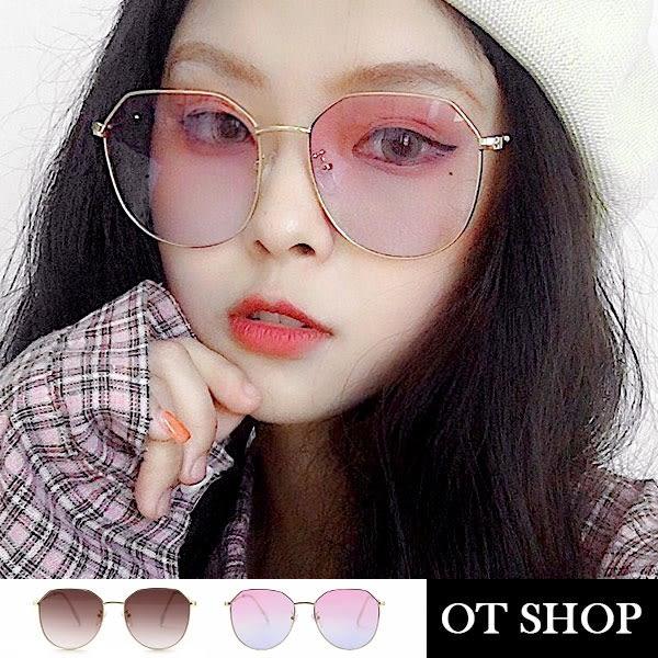 OT SHOP太陽眼鏡‧韓系時尚不規則金屬框抗UV400漸層墨鏡‧漸層茶/粉藍漸層‧現貨兩色‧U100