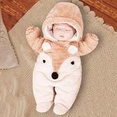 嬰兒上衣初生嬰兒連體衣秋冬季新生兒衣服寶寶外出抱衣女保暖加厚網紅冬裝全館免運 二度
