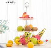 歐式三層水果盤創意多層干果水果架盤鋼化玻璃下午茶點心蛋糕架【櫻花本鋪】