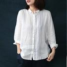棉麻襯衫 刺繡明線襯衫 純色翻領上衣 白襯衫/3色-夢想家-0325