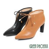 U28-25409 女款高跟踝靴  國際精品蝴蝶結V型鏤空英國山羊皮尖頭高跟踝靴【GREEN PHOENIX】