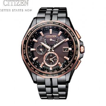 CITIZEN星辰Eco-Drive  紳士時尚鈦金屬光動能電波腕錶AT9096-73E黑/玫瑰金*限量250只*原廠公司貨