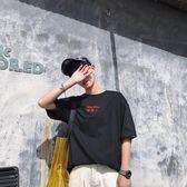 男短袖T恤 夏季短袖T恤男韓版上衣服學生半袖文字刺繡體恤男裝韓版休閒上衣 潮流男裝wx4078