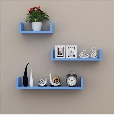 牆上置物架客廳牆壁掛牆面隔板擱臥室多層書架免打孔簡約現代裝飾【需要鉆孔、藍色三件套】