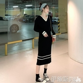 大碼女裝微胖減齡顯瘦針織裙子秋冬季胖mm洋氣藏肉遮肚毛衣連身裙 交換禮物
