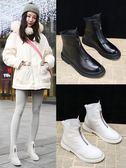 靴子 網紅短靴女鞋冬季2019新款馬丁靴前拉鏈短筒平底雪地加絨瘦瘦靴子 曼慕衣櫃