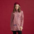 純棉橫條布料加上雙色口袋雨傘印花全開釦襯衫設計