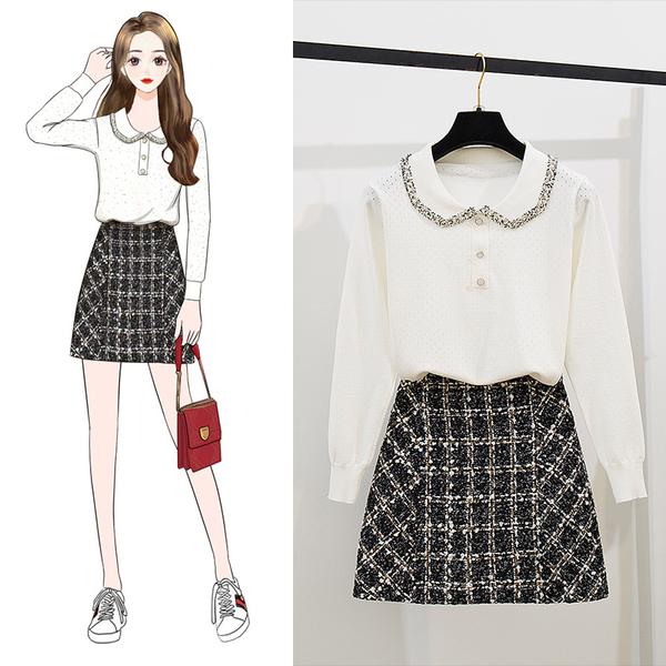 絕版出清 韓系甜美鏤空翻領針織衫毛呢裙套裝長袖裙裝