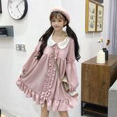 秋裝洋裝女2018新款學生日系甜美軟妹寬松顯瘦花邊蕾絲娃娃裙子 後街五號