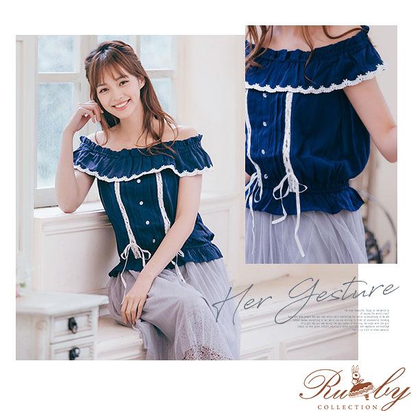 上衣 露比設計一字領荷葉交叉綁帶短袖上衣-Ruby s露比午茶