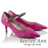 ★2018春夏★Keeley Ann獨特魅力~金屬鍊條腳踝釦全真皮尖頭跟鞋(桃紅色) -Ann系列