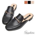 穆勒鞋 質感馬銜釦車線低跟拖鞋-黑
