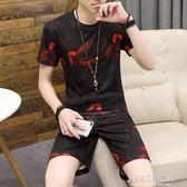 2019男士短袖T恤一套男夏季新款休閒運動套裝潮流五分短褲兩件套-Ifashion