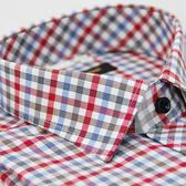 【金‧安德森】紅白藍灰棕格紋黑扣窄版長袖襯衫