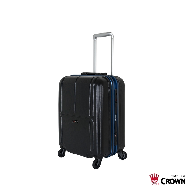 CROWN皇冠 19吋 極輕炫彩拉桿箱 登機箱/行李箱-黑色籃框 CFB010