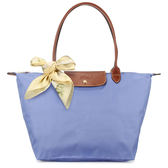 LONGCHAMP 經典長提把中型尼龍摺疊水餃包(淺藍紫色-含帕巾)480132-B40