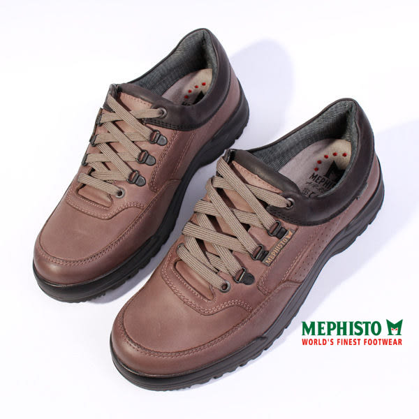 MEPHISTO 皮革綁帶休閒鞋 咖啡 P5112562 男鞋
