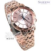 SHEEN SHE-3046PG-4A 羅馬時刻 施華洛世奇水晶 女錶 鑽錶 玫瑰金 女錶 SHE-3046PG-4AUDR CASIO卡西歐