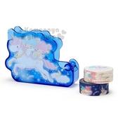 〔小禮堂〕雙子星 造型塑膠膠台附膠帶《深藍》膠帶切台.膠帶收納.迷夜星辰系列 4901610-57850