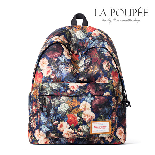 後背包 復古油畫感彩色玫瑰A4大容量書包-La Poupee樂芙比質感包飾 (預購+好禮)