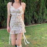 法式性感碎花吊帶裙女春夏季蕾絲復古短裙魚尾連身裙【繁星小鎮】