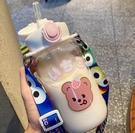 吸管杯 高顏值吸管杯寶寶水杯簡約卡通兒童水壺便攜玻璃杯子女可愛少女心【快速出貨八折搶購】