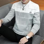 長袖T恤 新款長袖t恤男士加絨修身上衣打底衫春裝衣服潮流衛衣體恤秋衣男-完美第衣家