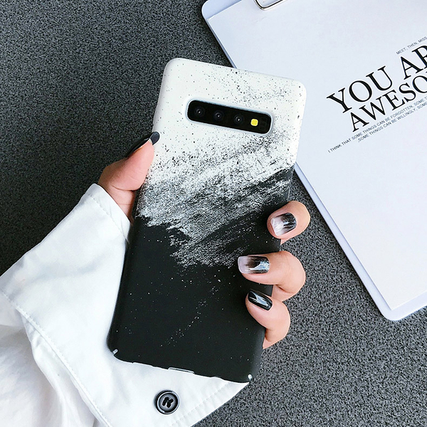 現貨 冷淡風雪山磨砂 三星 Galaxy S10 + plus 手機殼 山水畫墨 全包防摔 硬殼 超薄 手機套 保護殼