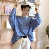 寬鬆長袖上衣秋季新款韓版條紋T恤女長袖寬鬆學生百搭小清新打底衫上衣服走心小賣場
