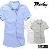 『潮段班』【SD032213】滿版微彎曲直線立領短袖襯衫上衣