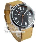 CURREN 卡瑞恩 數字簡約時刻紳士腕錶 日期顯示 皮革男錶 防水手錶 工業風 黑x卡其 CU8218黑卡