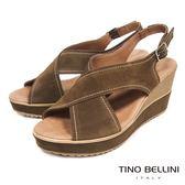 Tino Bellini 西班牙進口寬帶交叉魚口楔型涼鞋 _ 綠 A83026 歐洲進口款