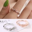 【Q25A40】魔衣子-創意不規則幾何水鑽閃電開口戒指