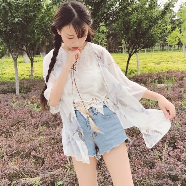 [超豐國際]防曬衣女夏季雪紡學生薄款開衫外套系帶流蘇背心兩件1入