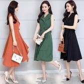 全網熱銷商店 洋裝 韓版范V領流行氣質收腰棉麻連身裙