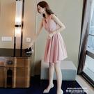 小禮服夏季氣質粉色連身裙小個子禮服顯瘦平...