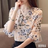 碎花雪紡襯衫短袖女裝夏裝2020年夏季新款潮上衣洋氣時尚氣質小衫 PA16081『美好时光』