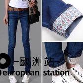牛仔長褲/高腰女士小腳女褲鉛筆「歐洲站」