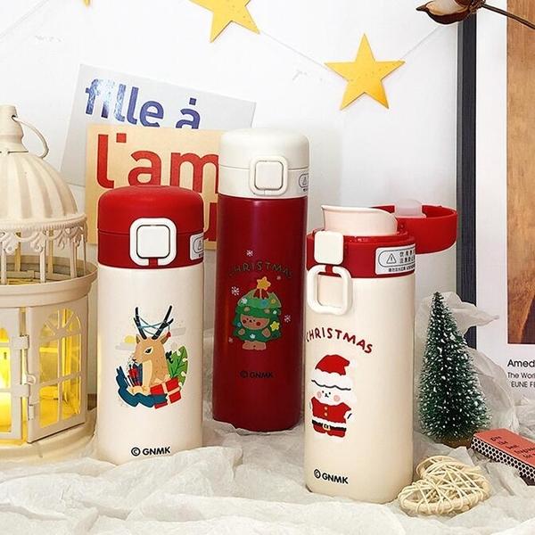 圣诞节水杯保温杯女大容量可爱学生简约便携小创意个性潮流杯子