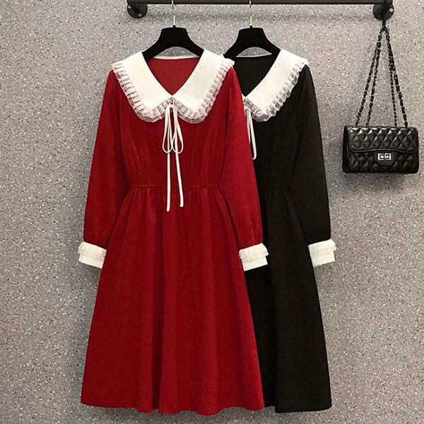 *ORead*韓版大碼娃娃領拼接顯瘦連身裙(2色L~4XL)