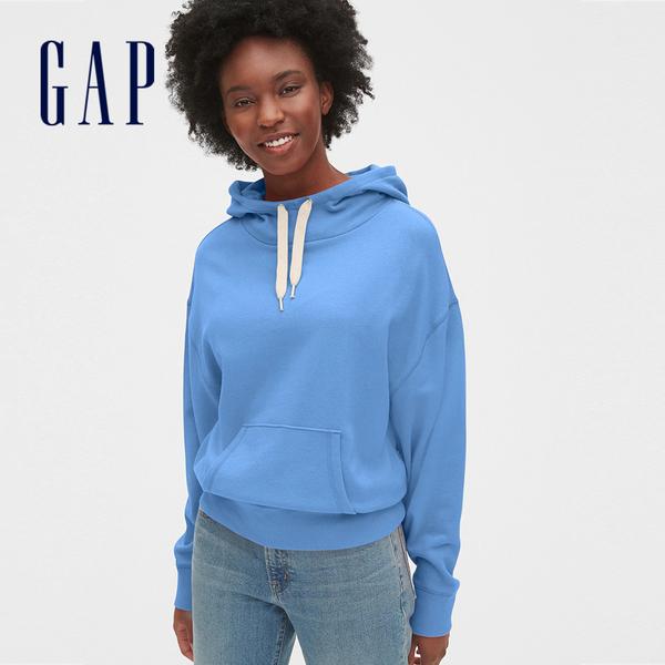 Gap女裝 活力純色縮口抽繩連帽上衣 525951-花藍色