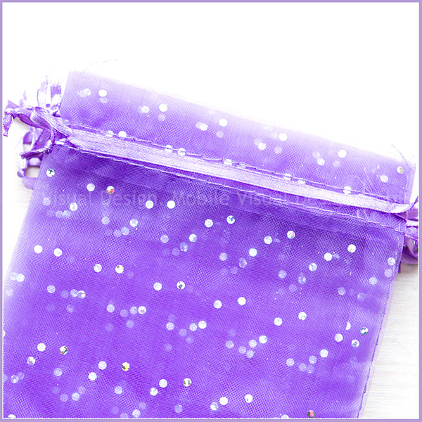 幸福朵朵【亮片「紫色」雪紗袋(約12x17cm)】送客喜糖包裝袋/化妝品保養品紗網袋/禮物包裝