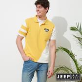 【JEEP】運動風拼接短袖POLO衫-黃