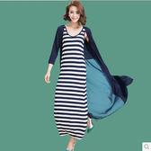 【免運】新品兩件套裝裙莫代爾開衫修身大碼條紋長裙連身裙背心長袖女裝