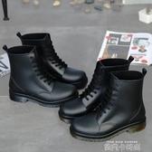 歐美夏季男士馬丁雨鞋低筒防水時尚成人雨靴短款磨砂防滑水膠套鞋 依凡卡時尚
