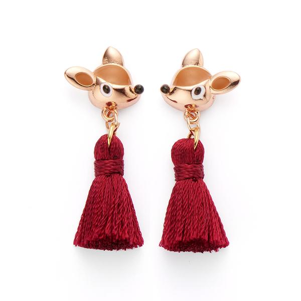 【正韓】P.Y 小鹿斑比紅色流蘇耳環 16K玫瑰金