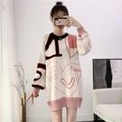 *ORead*慵懶風塗鴉毛衣加厚提花針織衫上衣(圖片色F碼)