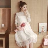 孕婦裝 (蕾絲連身裙)-優雅公主風長袖時尚女連衣裙2色73mx13[時尚巴黎]